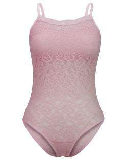 Body Camiseta Rendado Rosa Suave